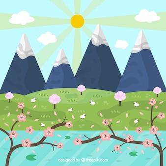 Paisagem da mola com montanhas