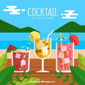 Paisagem de fundo com cocktails em design plano