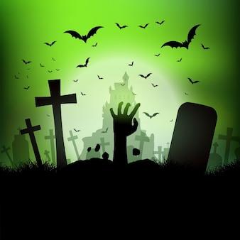 Paisagem de Halloween com a mão zumbi saindo de uma sepultura