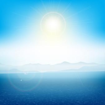Paisagem de verão com ilhas distantes com o oceano