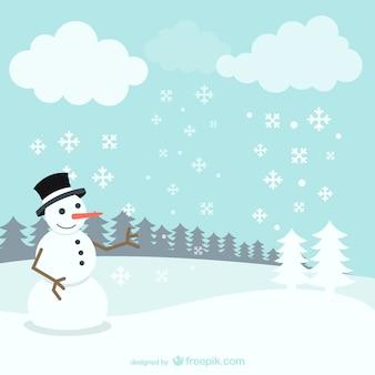 Paisagem do inverno com boneco de neve