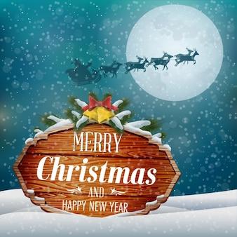 Paisagem do inverno de Natal com Lua cheia Ilustração