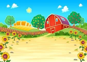 Paisagem engraçada com a ilustração do vetor dos desenhos animados fazenda e girassóis