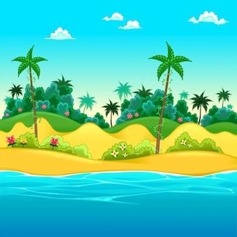 Paisagem na praia Vector ilustração dos desenhos animados