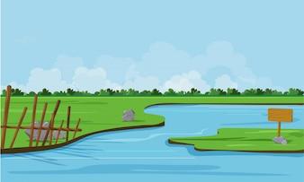 Paisagem natural com rio e campo verde.