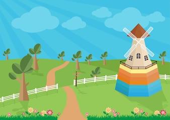 Paisagem rural com moinho de vento.