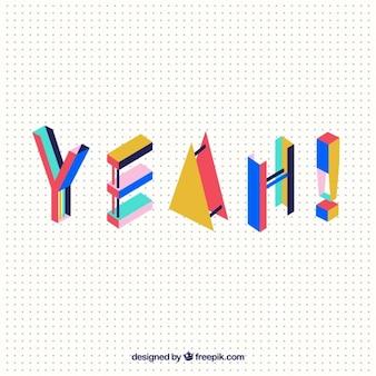 """Palavra moderna """"sim"""" com formas geométricas coloridas"""
