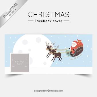Papai Noel de trenó capa facebook