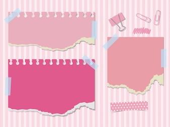 Papéis cor-de-rosa e clipes de papel