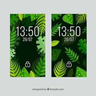 Papéis de parede móveis com folhas tropicais em design plano