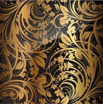 Parede de seda papel retro dourada