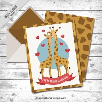Pares encantadores de cartão de girafas