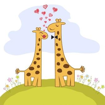 Pares engraçados girafa no amor dos namorados cartão do dia