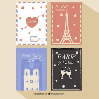 Paris romântico cartões postais