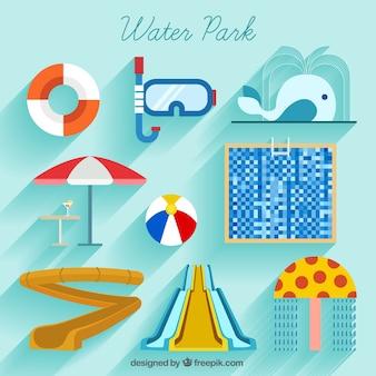 Parque Aquático e do verão elementos no design plano