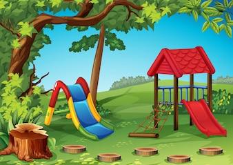 Parque infantil na ilustração do parque