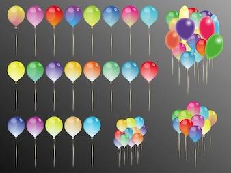 Parte balões celebração ícones do vetor