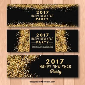 Partido do ano novo 2017 banners com glitter dourado