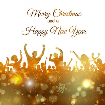 Partido do ano novo silhuetas douradas