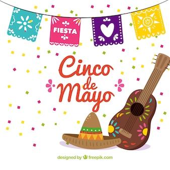 Partido fundo de Cinco de Mayo com o chapéu mexicano e violão