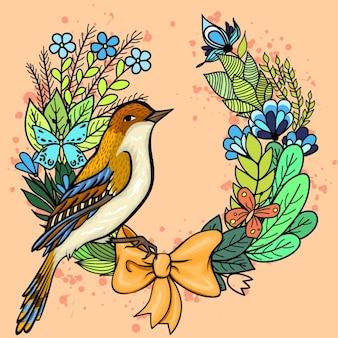 Pássaro em uma coroa de flores