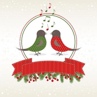 Pássaros cantando do fundo do Natal