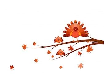 Pássaros de Turquia no ramo da árvore para o Dia de Ação de Graças.