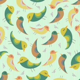 Pássaros desenhados à mão colorida e sem costura