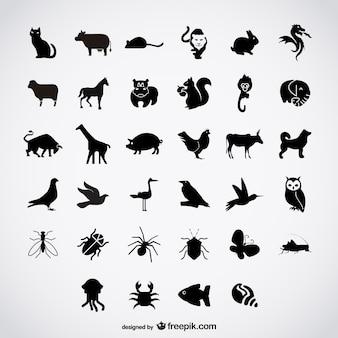 Pássaros simples silhuetas