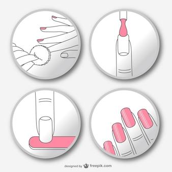 Passo a passo manicure vector