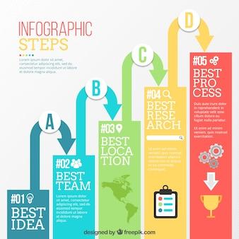 Passos infográficos modernos com setas