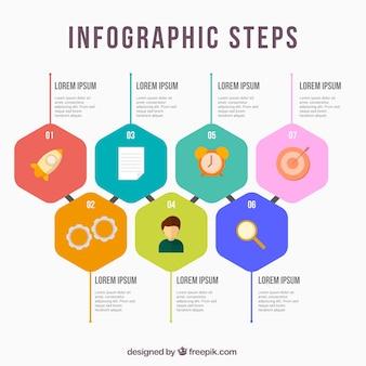 Passos infográficos planos com ícones divertidos