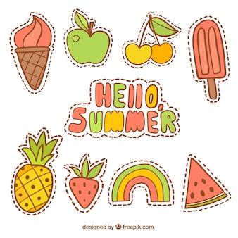 patches de verão com frutas