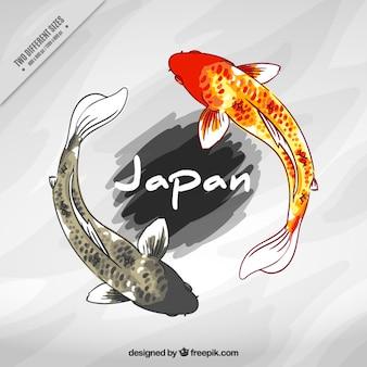 Peixes japoneses fundo