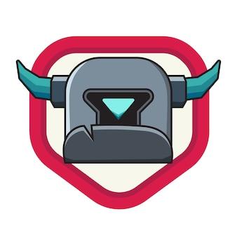 Pequena cabeça Soldado de ferro com escudo