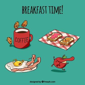 pequeno-almoço agradável com caráteres desenhados mão alimentos