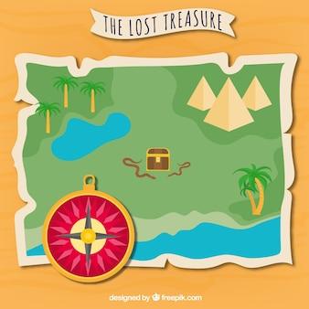 Perdido, tesouro, mapa, Ilustração