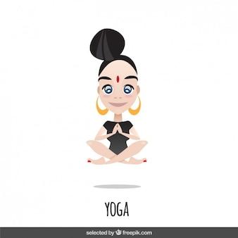 Personagem, mulher fazendo yoga