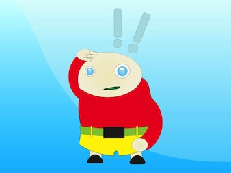 Personagem de desenho animado com pontos de exclamação