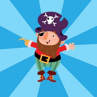 Personagem de desenho animado marinheiro pequeno pirata assaltante pequeno