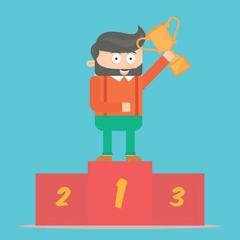 Personagem de empresário hipster com troféu no pódio design de vetores de desenhos animados