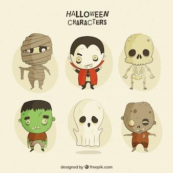 Personagens assustadores no estilo do vintage