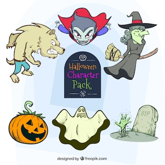 Personagens coloridos para o dia das bruxas