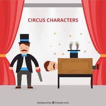 Personagens de circo agradáveis em design plano