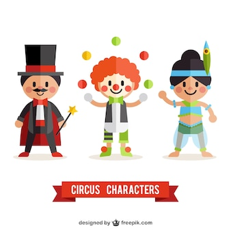 Personagens de circo planas