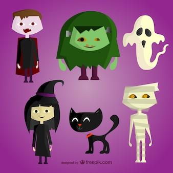 Personagens de desenhos animados do dia das bruxas definido
