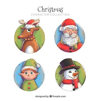 Personagens de Natal desenhados mão