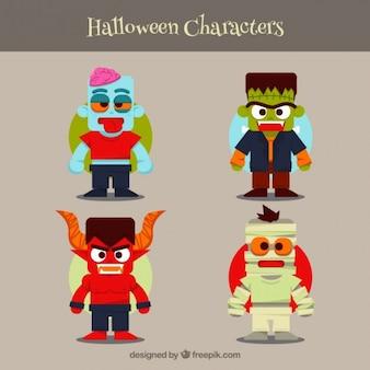Personagens dos desenhos animados do dia das bruxas