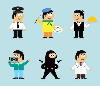 Personagens engraçados com diferentes profissões