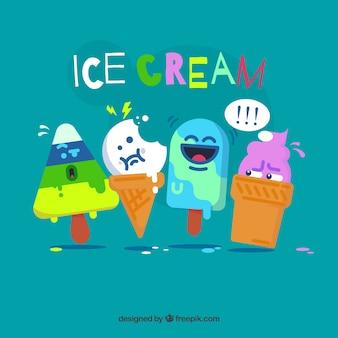 Personagens engraçados de sorvete